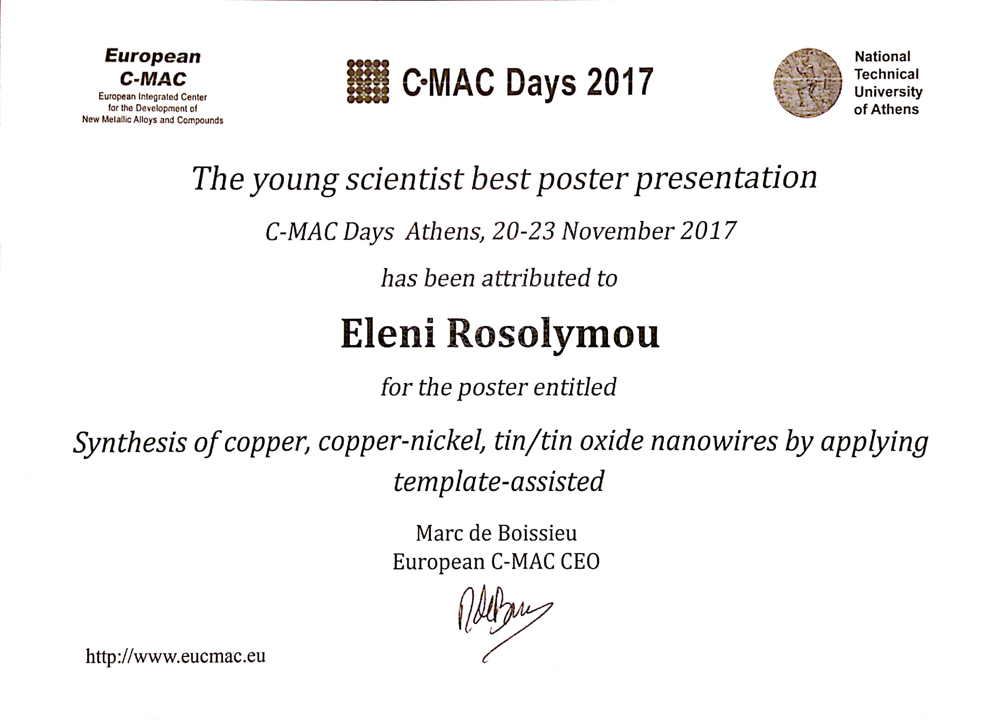 Congratulations to eleni rosolymou for the best poster presentation award certificate yelopaper Gallery